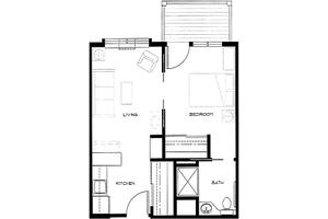 Example: One Bedroom  Unit A1 w/ Deck                                                              , Brookdale Allenmore