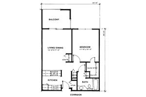 One Bedroom Traditional, Meridian Lakewood