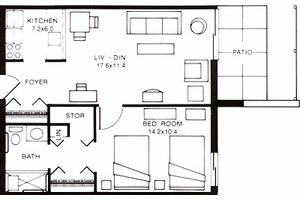 One Bedroom with Patio, Potomac Place