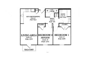 "Floor Plan ""C"", Oak Tree Manor Apartments"