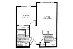 1 Bedroom Unit - Type A, Brookdale Wilsonville