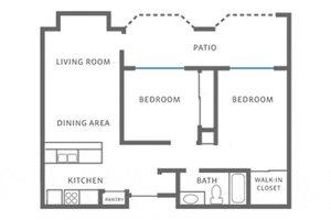Two Bedroom, Valley Oaks Village Senior Apartments