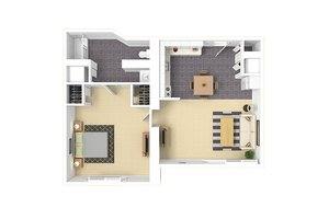 One Bedroom C, Warren Place Apartments