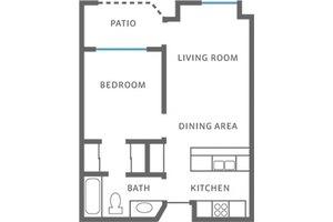 One Bedroom, Valley Oaks Village Senior Apartments
