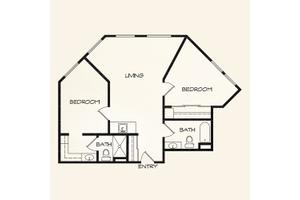 Two Bedroom, Landing at Behrman Place Retirement