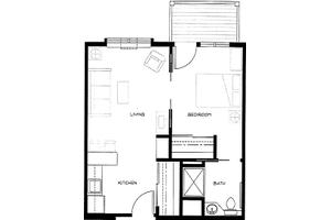 Example: One Bedroom  Unit A2 w/ Deck                                                              , Brookdale Allenmore