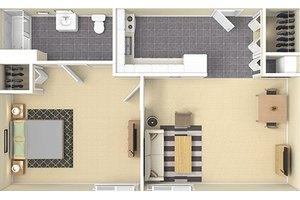 One Bedroom B, Warren Place Apartments